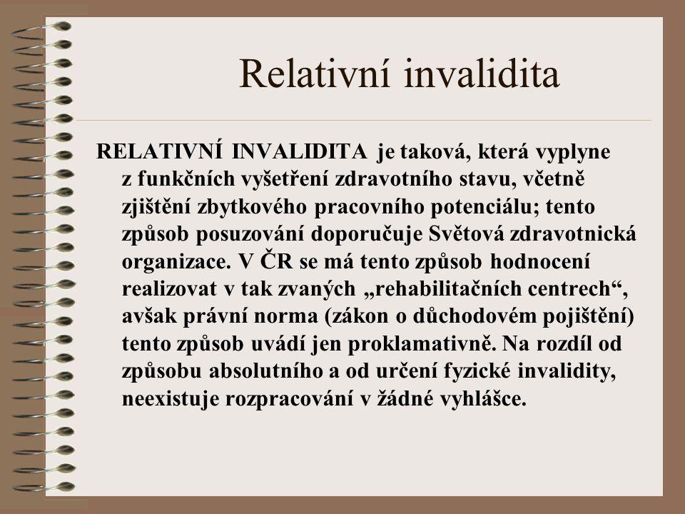 Relativní invalidita RELATIVNÍ INVALIDITA je taková, která vyplyne z funkčních vyšetření zdravotního stavu, včetně zjištění zbytkového pracovního potenciálu; tento způsob posuzování doporučuje Světová zdravotnická organizace.