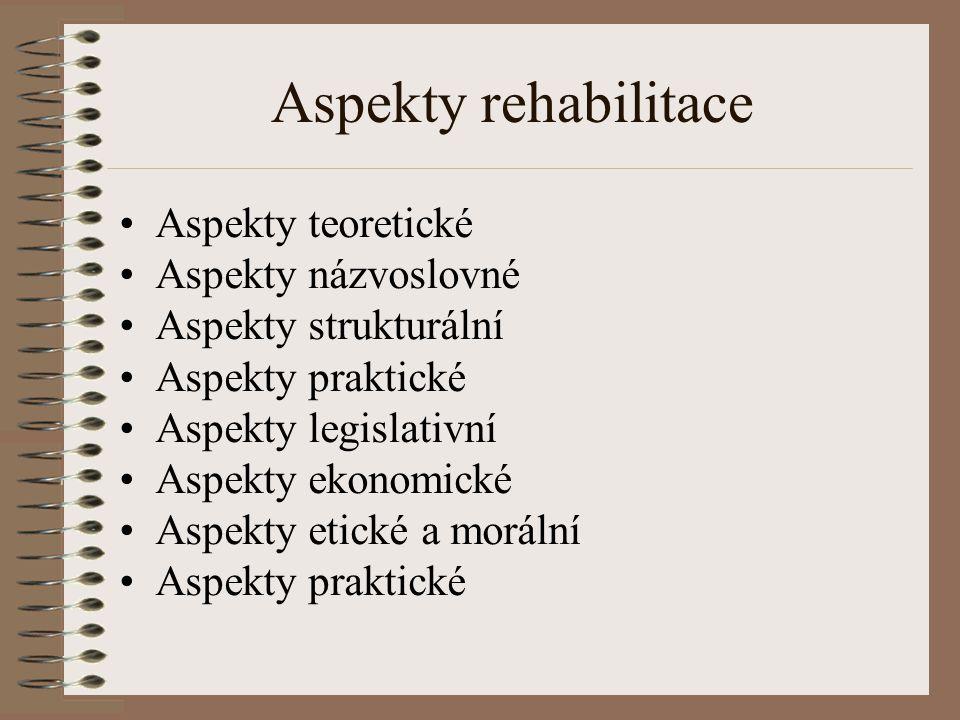 Aspekty rehabilitace Aspekty teoretické Aspekty názvoslovné Aspekty strukturální Aspekty praktické Aspekty legislativní Aspekty ekonomické Aspekty eti