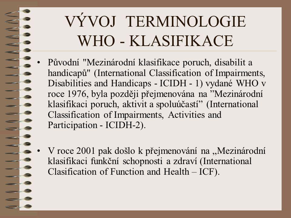 VÝVOJ TERMINOLOGIE WHO - KLASIFIKACE Původní Mezinárodní klasifikace poruch, disabilit a handicapů (International Classification of Impairments, Disabilities and Handicaps - ICIDH - 1) vydané WHO v roce 1976, byla později přejmenována na Mezinárodní klasifikaci poruch, aktivit a spoluúčastí (International Classification of Impairments, Activities and Participation - ICIDH-2).