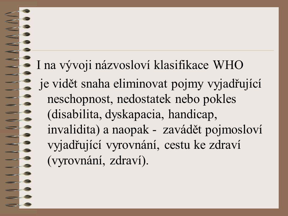 I na vývoji názvosloví klasifikace WHO je vidět snaha eliminovat pojmy vyjadřující neschopnost, nedostatek nebo pokles (disabilita, dyskapacia, handic