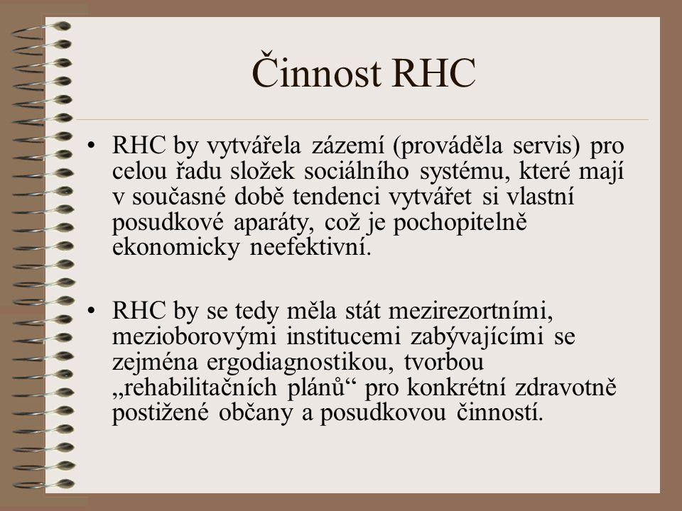 Činnost RHC RHC by vytvářela zázemí (prováděla servis) pro celou řadu složek sociálního systému, které mají v současné době tendenci vytvářet si vlastní posudkové aparáty, což je pochopitelně ekonomicky neefektivní.