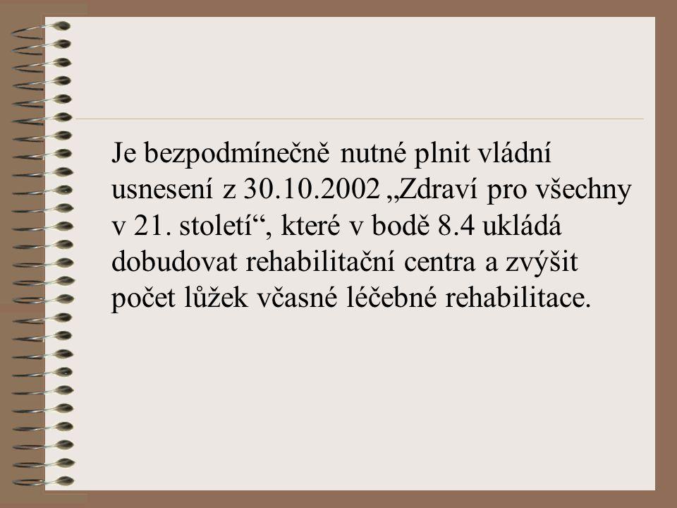 """Je bezpodmínečně nutné plnit vládní usnesení z 30.10.2002 """"Zdraví pro všechny v 21. století"""", které v bodě 8.4 ukládá dobudovat rehabilitační centra a"""