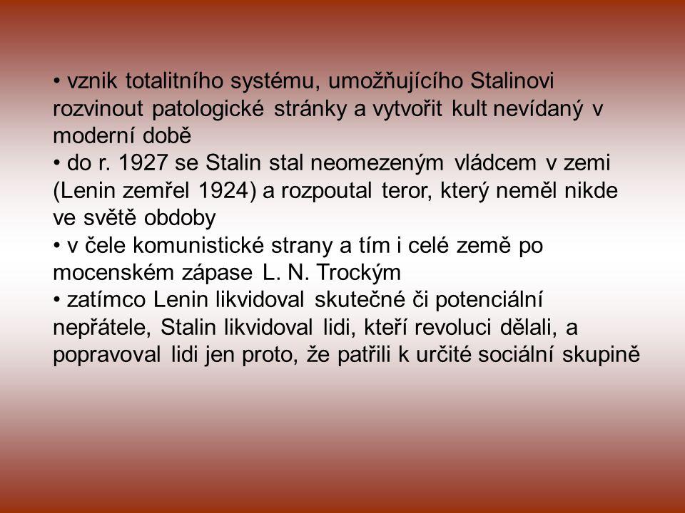 """v Rusku po 1917- revoluční teror, 1918 -1921 občanská válka, hospodářský rozvrat katastrofální hladomor 1921-23 (6 milionů mrtvých) politika NEP (povoleno drobné podnikání v oblasti zemědělství a řemesel nastartování ekonomiky) plán GOELRO (elektrifikace Ruska) po Leninově smrti – změna vnitřní hospodářské politiky kolektivizace – kolektivizace industrializace – industrializace cíle: - vybudovat """"velkopodniky - vybudovat """"velkoprůmysl - zničit svobodný trh - do 15 let předstihnout USA - odstranit závislost měst na zásobování z venkova - zlomit nezávislost venkova - rozšíření třídního boje na vesnici - likvidace soukromého sektoru, fyzická likvidace odpůrců režimu"""