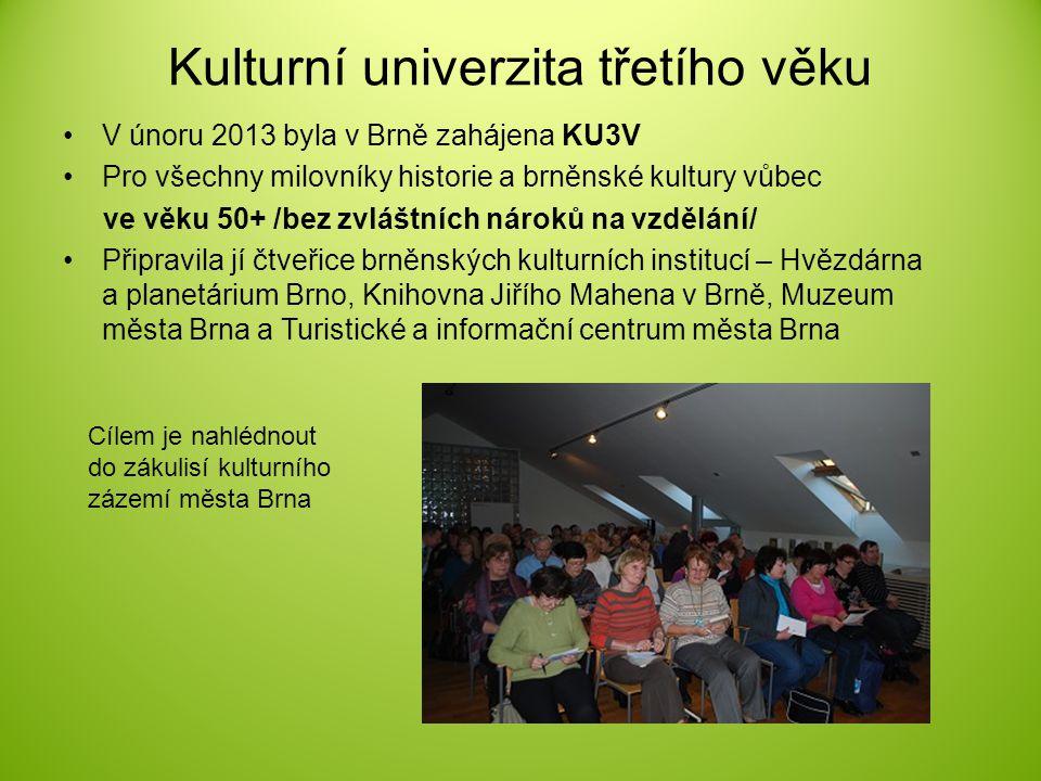 Kulturní univerzita třetího věku V únoru 2013 byla v Brně zahájena KU3V Pro všechny milovníky historie a brněnské kultury vůbec ve věku 50+ /bez zvláš