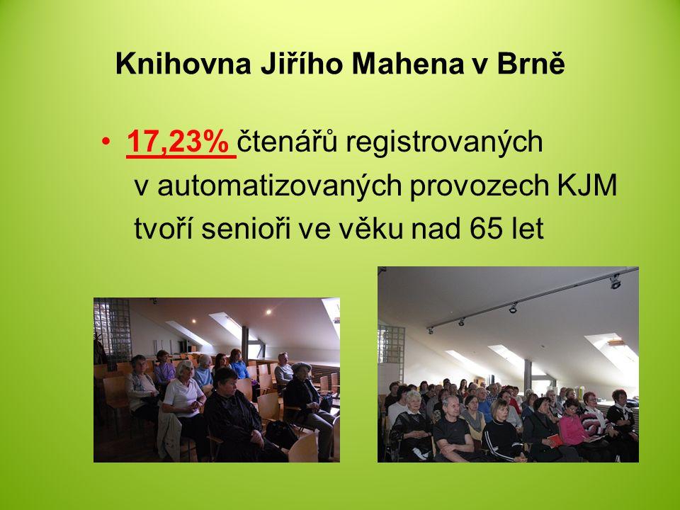 Knihovna Jiřího Mahena v Brně 17,23% čtenářů registrovaných v automatizovaných provozech KJM tvoří senioři ve věku nad 65 let