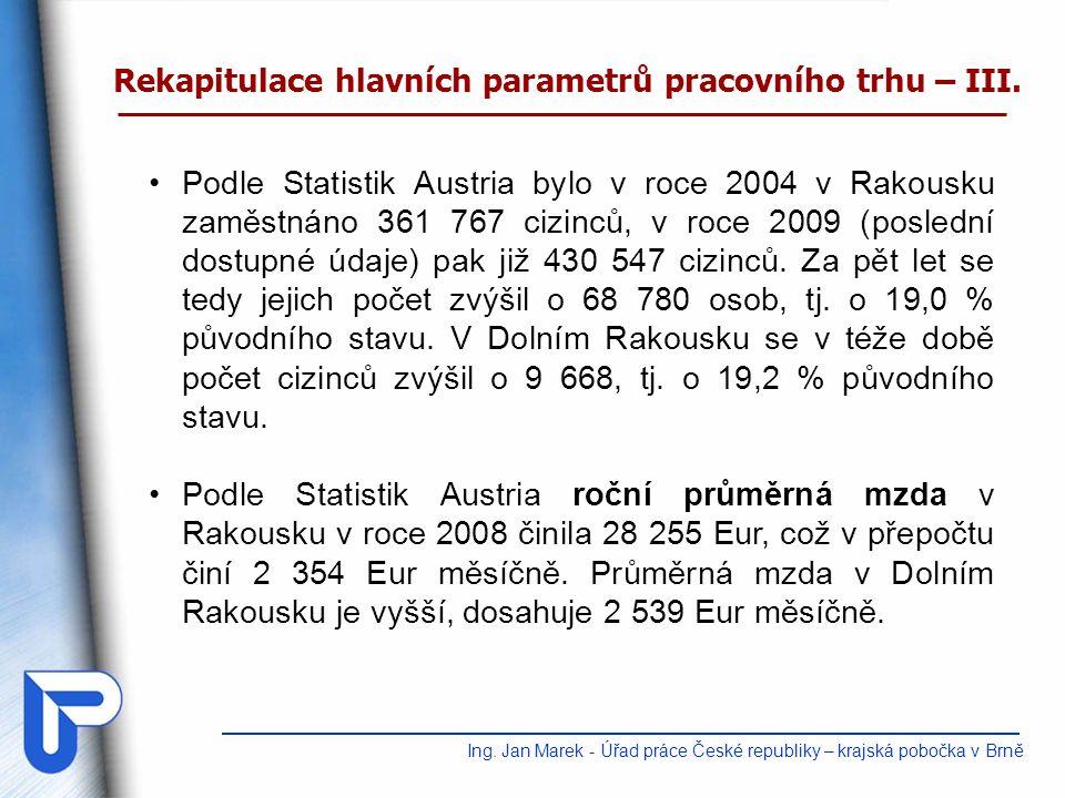 Ing. Jan Marek - Úřad práce České republiky – krajská pobočka v Brně Podle Statistik Austria bylo v roce 2004 v Rakousku zaměstnáno 361 767 cizinců, v