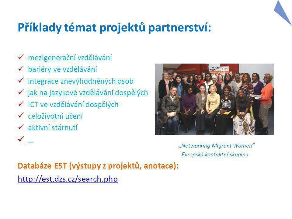 """Příklady témat projektů partnerství: mezigenerační vzdělávání bariéry ve vzdělávání integrace znevýhodněných osob jak na jazykové vzdělávání dospělých ICT ve vzdělávání dospělých celoživotní učení aktivní stárnutí … Databáze EST (výstupy z projektů, anotace): http://est.dzs.cz/search.php """"Networking Migrant Women Evropská kontaktní skupina"""
