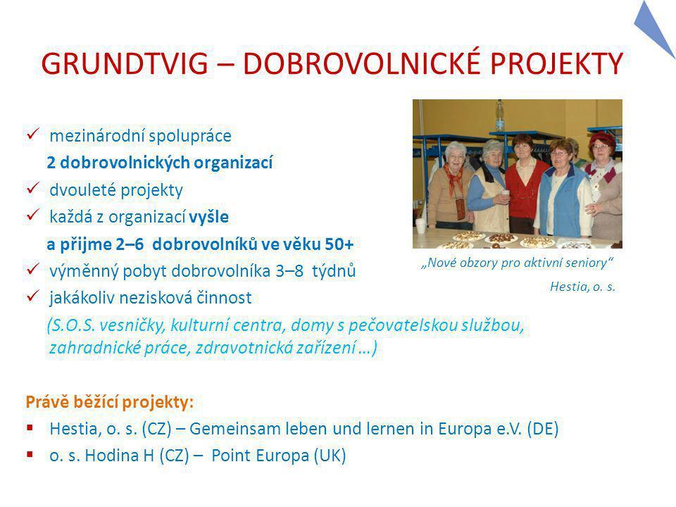 GRUNDTVIG – DOBROVOLNICKÉ PROJEKTY mezinárodní spolupráce 2 dobrovolnických organizací dvouleté projekty každá z organizací vyšle a přijme 2–6 dobrovolníků ve věku 50+ výměnný pobyt dobrovolníka 3–8 týdnů jakákoliv nezisková činnost (S.O.S.