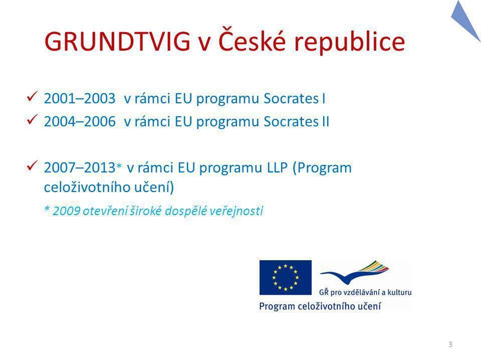 3 GRUNDTVIG v České republice 2001–2003 v rámci EU programu Socrates I 2004–2006 v rámci EU programu Socrates II 2007–2013 * v rámci EU programu LLP (Program celoživotního učení) * 2009 otevření široké dospělé veřejnosti
