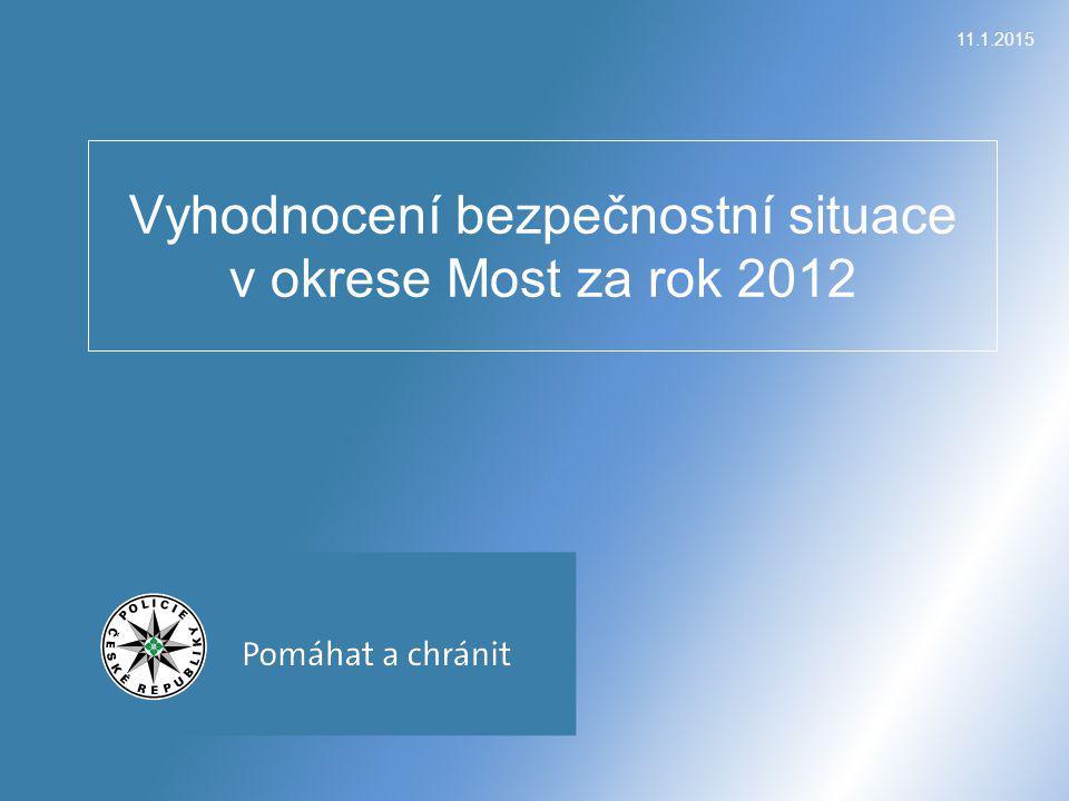 11.1.2015 Vyhodnocení bezpečnostní situace v okrese Most za rok 2012