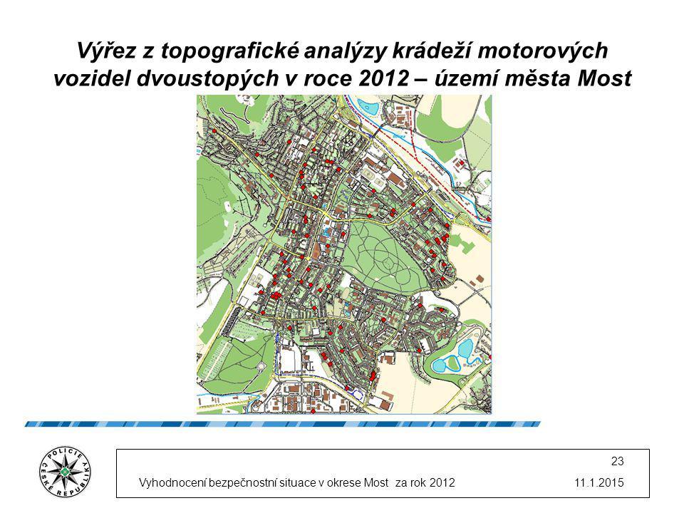 11.1.2015Vyhodnocení bezpečnostní situace v okrese Most za rok 2012 23 Výřez z topografické analýzy krádeží motorových vozidel dvoustopých v roce 2012
