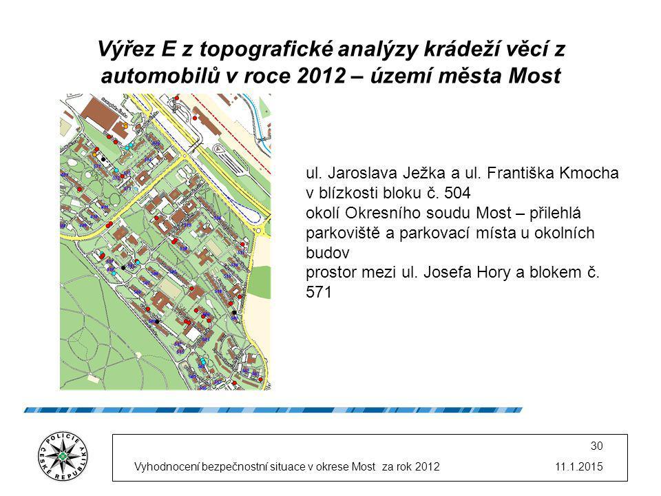11.1.2015Vyhodnocení bezpečnostní situace v okrese Most za rok 2012 30 Výřez E z topografické analýzy krádeží věcí z automobilů v roce 2012 – území města Most ul.