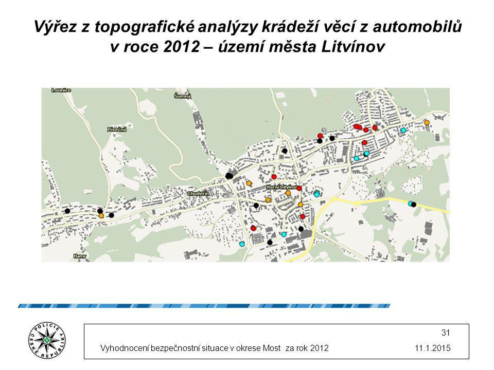 11.1.2015Vyhodnocení bezpečnostní situace v okrese Most za rok 2012 31 Výřez z topografické analýzy krádeží věcí z automobilů v roce 2012 – území měst