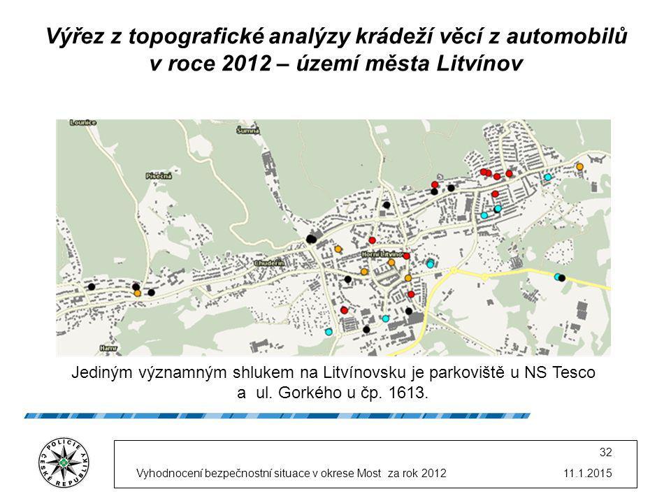 11.1.2015Vyhodnocení bezpečnostní situace v okrese Most za rok 2012 32 Výřez z topografické analýzy krádeží věcí z automobilů v roce 2012 – území města Litvínov Jediným významným shlukem na Litvínovsku je parkoviště u NS Tesco a ul.