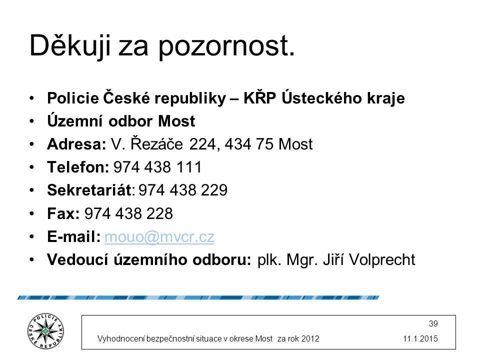11.1.2015Vyhodnocení bezpečnostní situace v okrese Most za rok 2012 39 Děkuji za pozornost.