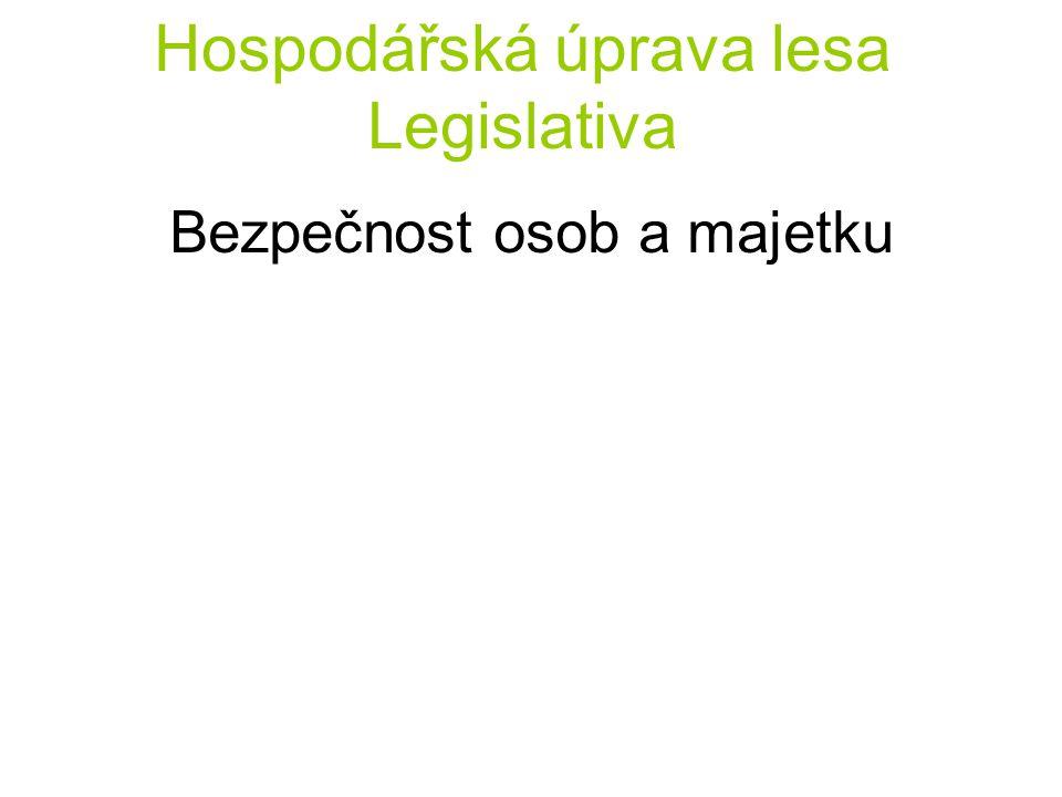Hospodářská úprava lesa Legislativa Bezpečnost osob a majetku