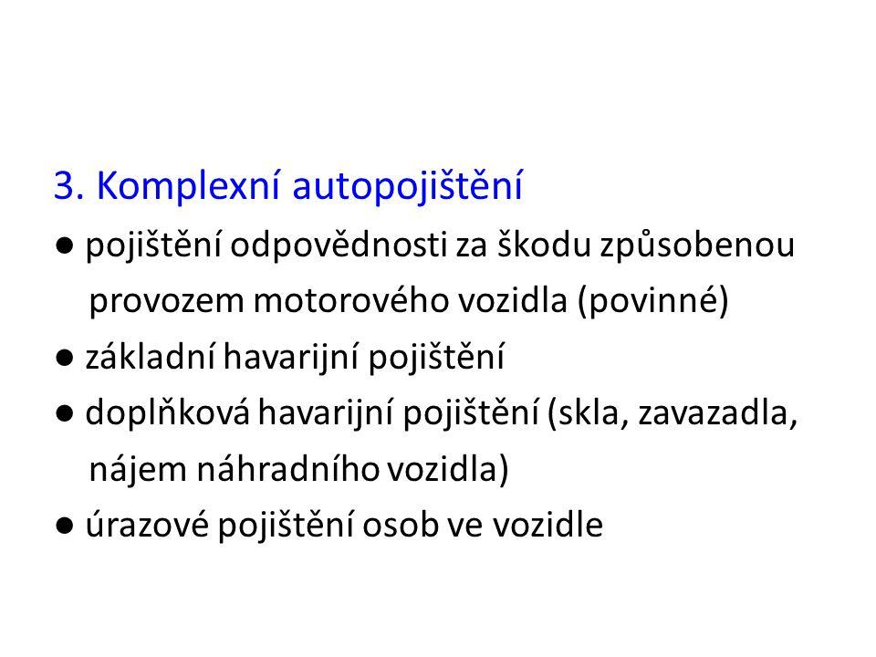 3. Komplexní autopojištění ● pojištění odpovědnosti za škodu způsobenou provozem motorového vozidla (povinné) ● základní havarijní pojištění ● doplňko