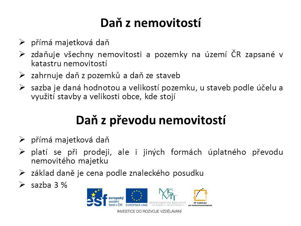 Daň z nemovitostí  přímá majetková daň  zdaňuje všechny nemovitosti a pozemky na území ČR zapsané v katastru nemovitostí  zahrnuje daň z pozemků a