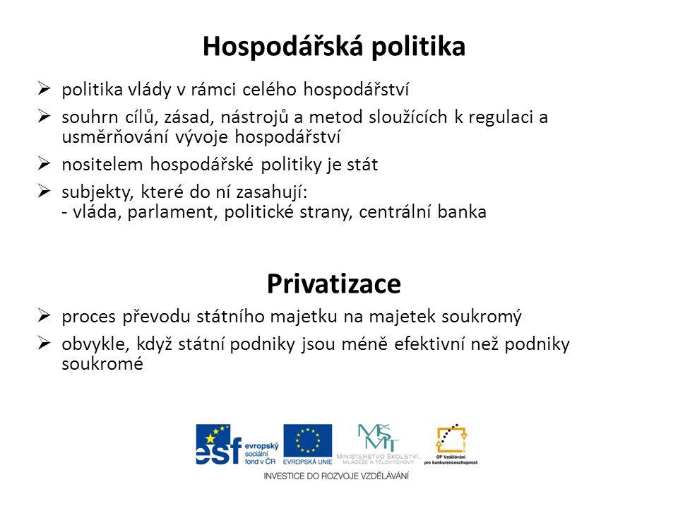 Hospodářská politika  politika vlády v rámci celého hospodářství  souhrn cílů, zásad, nástrojů a metod sloužících k regulaci a usměrňování vývoje ho