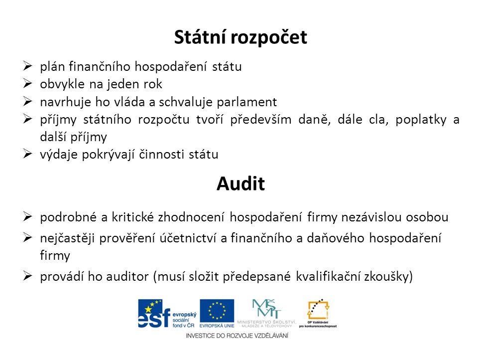Státní rozpočet  plán finančního hospodaření státu  obvykle na jeden rok  navrhuje ho vláda a schvaluje parlament  příjmy státního rozpočtu tvoří