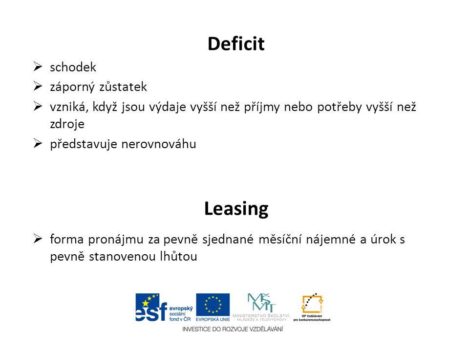 Deficit  schodek  záporný zůstatek  vzniká, když jsou výdaje vyšší než příjmy nebo potřeby vyšší než zdroje  představuje nerovnováhu Leasing  for