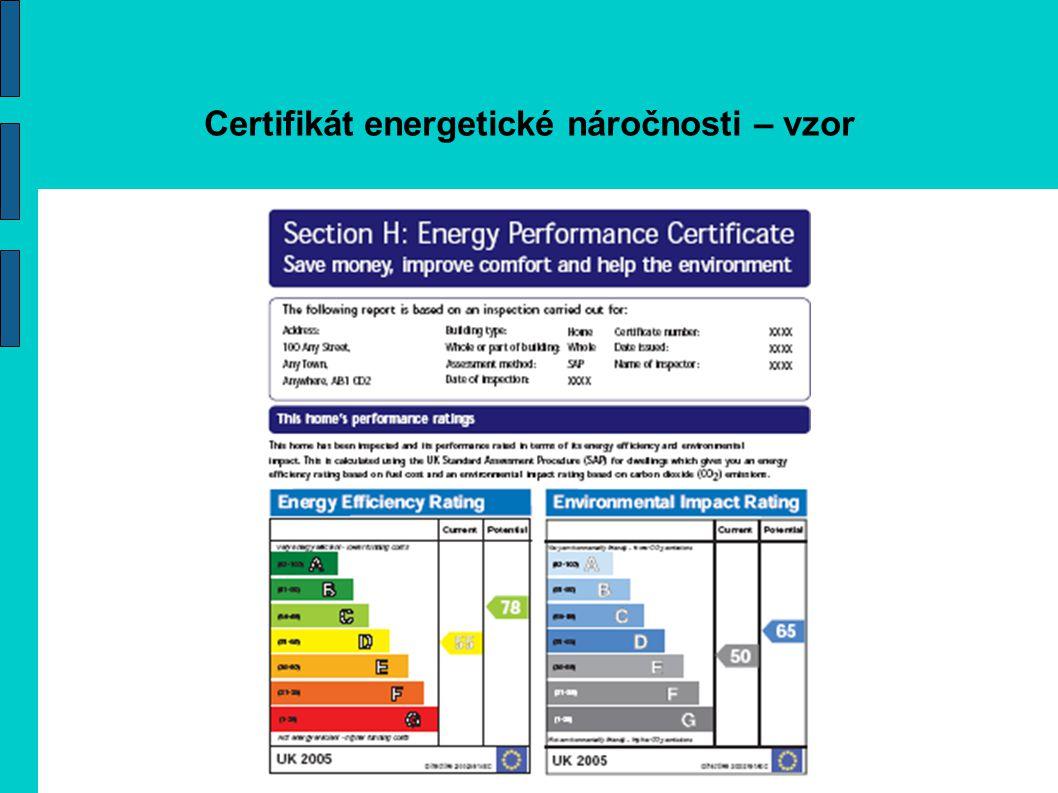 Certifikát energetické náročnosti – vzor
