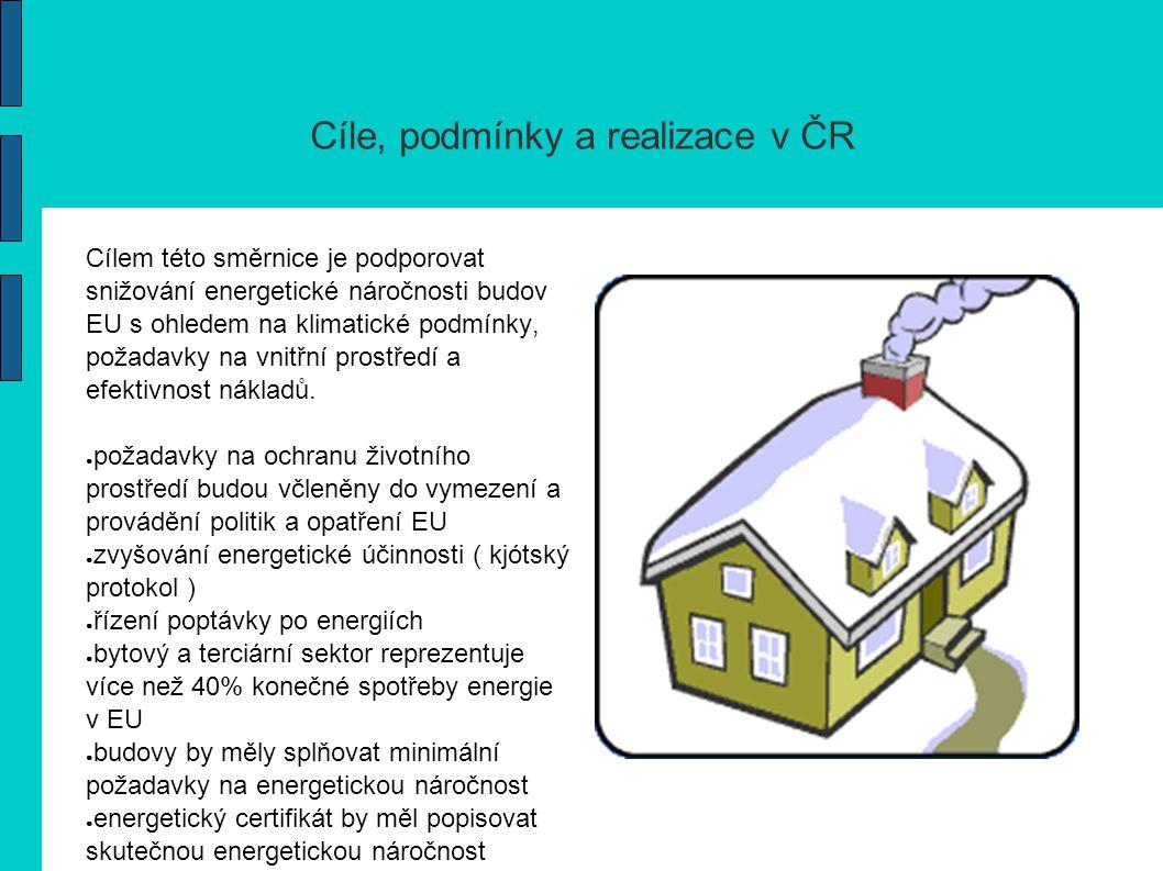 Hlavní cíle Hlavním cílem směrnice je snížení spotřeby energie a emisí oxidu uhličitého z budov prostřednictvím možností: ● stávajícím či potencionálním vlastníkům vybrat budovy s nižší energetickou náročností ● podporovat majitele nebo provozovatele ke snižování emisí oxidu uhličitého ● stanovení minimálních požadavků na nové budovy