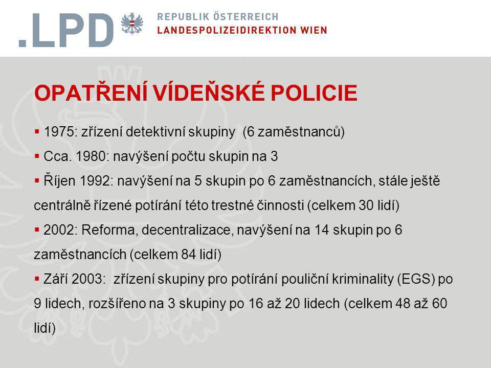 OPATŘENÍ VÍDEŇSKÉ POLICIE  1975: zřízení detektivní skupiny (6 zaměstnanců)  Cca.