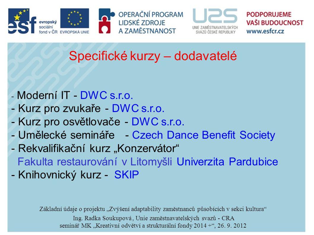 Specifické kurzy – dodavatelé - Moderní IT - DWC s.r.o.