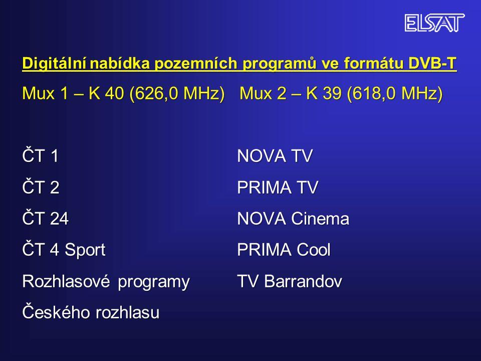 Digitální nabídka pozemních programů ve formátu DVB-T Mux 1 – K 40 (626,0 MHz) Mux 2 – K 39 (618,0 MHz) ČT 1 NOVA TV ČT 2 PRIMA TV ČT 24 NOVA Cinema Č