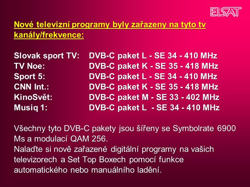 Nové televizní programy byly zařazeny na tyto tv kanály/frekvence: Slovak sport TV: DVB-C paket L - SE 34 - 410 MHz TV Noe: DVB-C paket K - SE 35 - 41