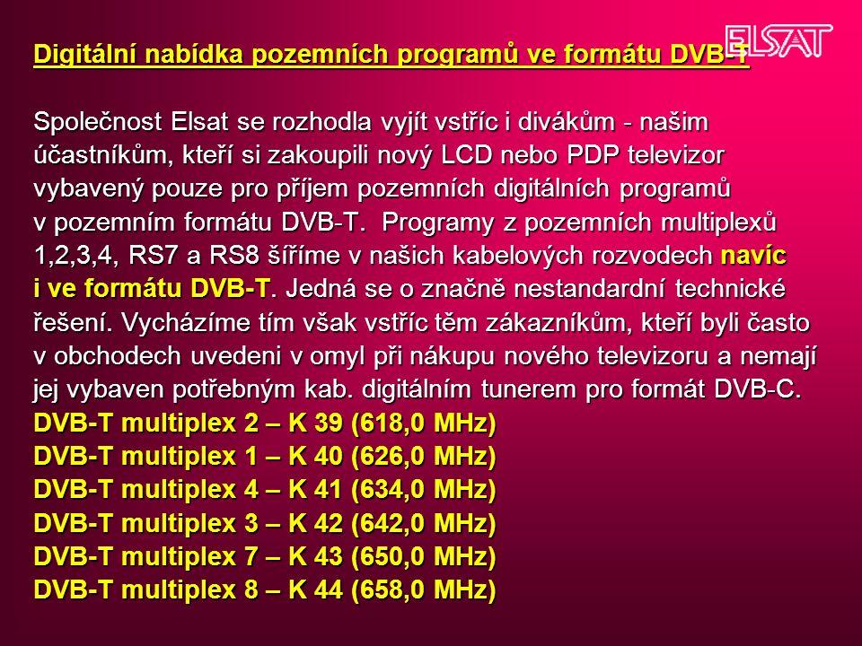 Digitální nabídka pozemních programů ve formátu DVB-T Společnost Elsat se rozhodla vyjít vstříc i divákům - našim účastníkům, kteří si zakoupili nový