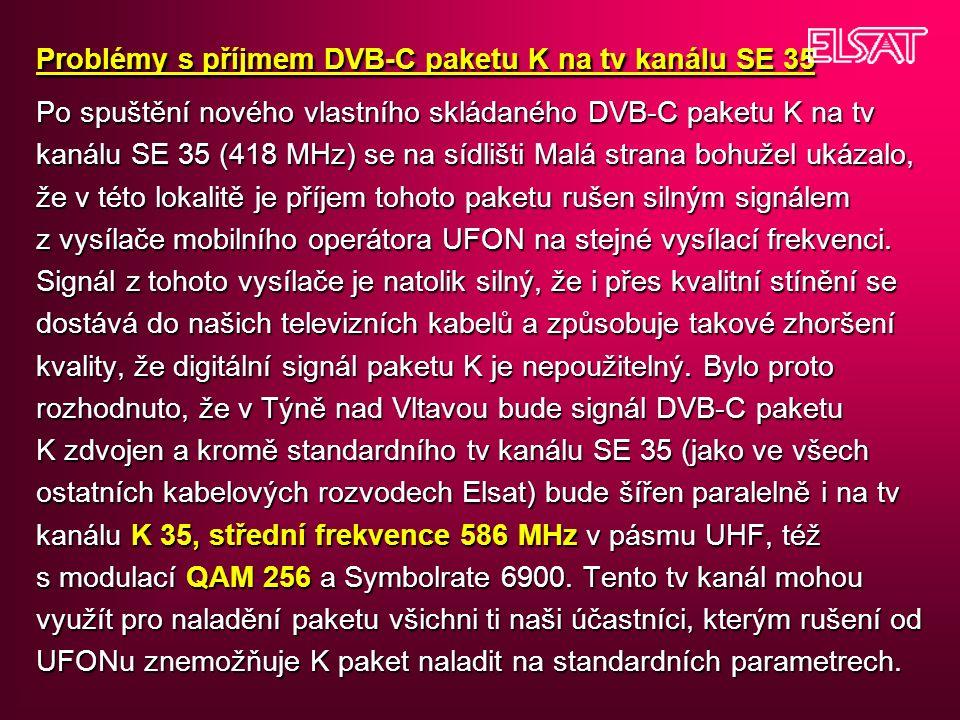 Problémy s příjmem DVB-C paketu K na tv kanálu SE 35 Po spuštění nového vlastního skládaného DVB-C paketu K na tv kanálu SE 35 (418 MHz) se na sídlišt
