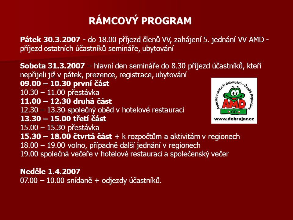 RÁMCOVÝ PROGRAM Pátek 30.3.2007 - do 18.00 příjezd členů VV, zahájení 5. jednání VV AMD - příjezd ostatních účastníků semináře, ubytování Sobota 31.3.