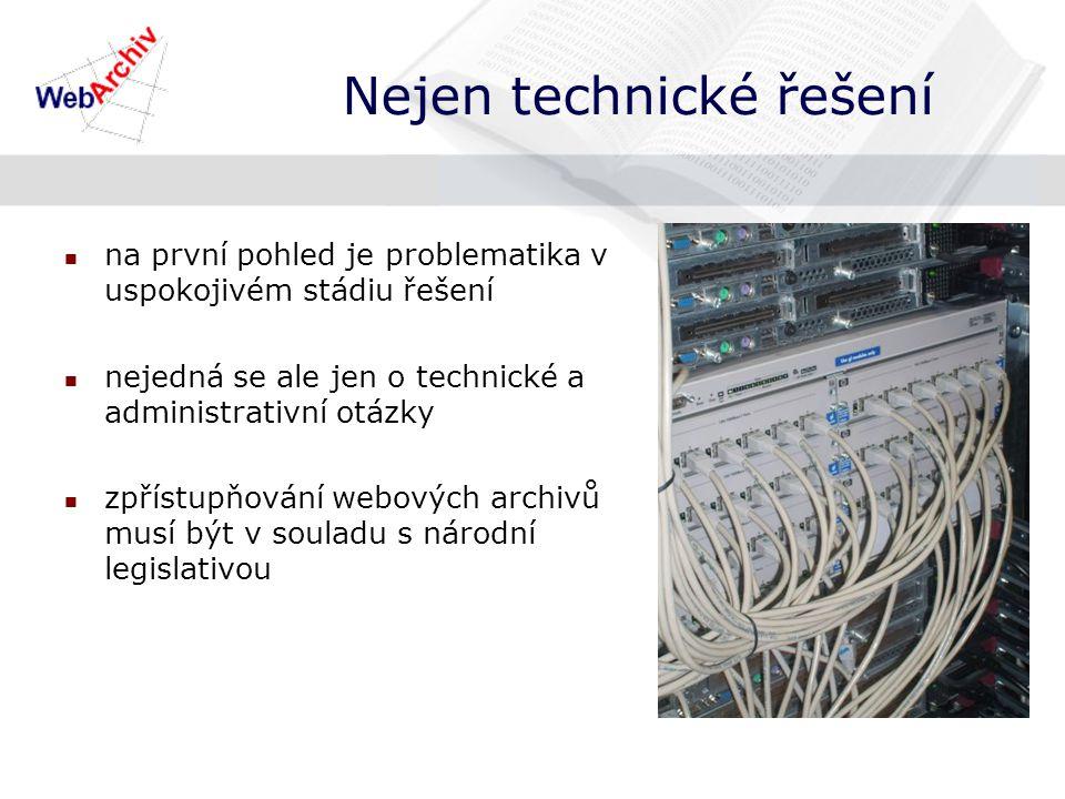 na první pohled je problematika v uspokojivém stádiu řešení nejedná se ale jen o technické a administrativní otázky zpřístupňování webových archivů musí být v souladu s národní legislativou Nejen technické řešení