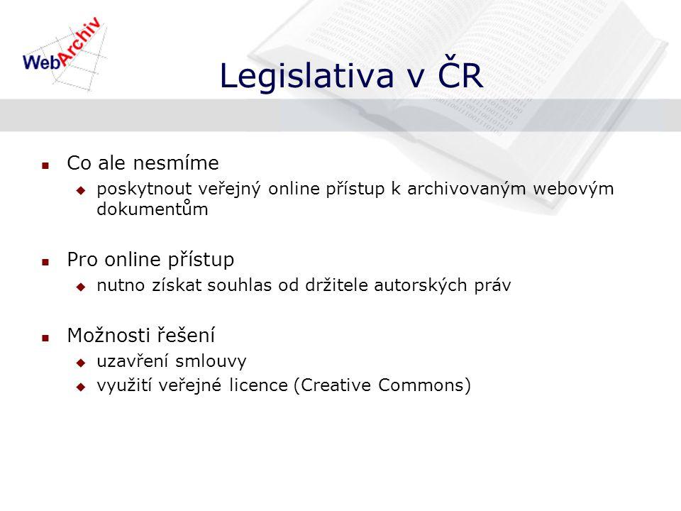 Legislativa v ČR Co ale nesmíme  poskytnout veřejný online přístup k archivovaným webovým dokumentům Pro online přístup  nutno získat souhlas od držitele autorských práv Možnosti řešení  uzavření smlouvy  využití veřejné licence (Creative Commons)