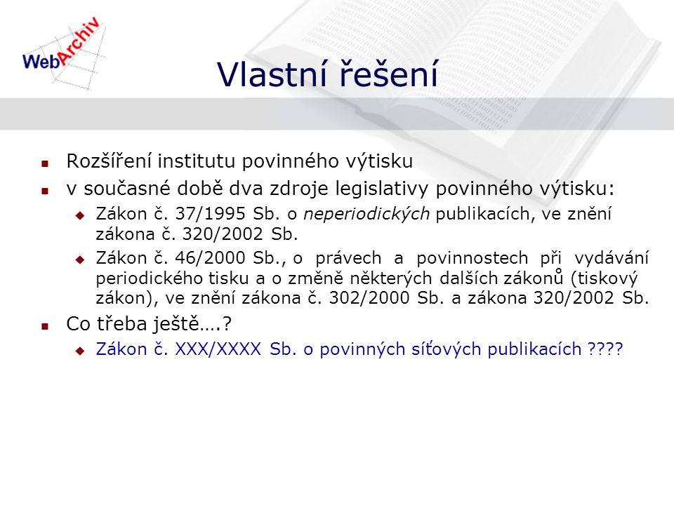 Vlastní řešení Rozšíření institutu povinného výtisku v současné době dva zdroje legislativy povinného výtisku:  Zákon č.