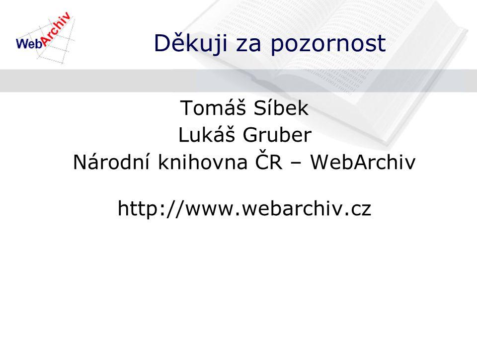 Děkuji za pozornost Tomáš Síbek Lukáš Gruber Národní knihovna ČR – WebArchiv http://www.webarchiv.cz
