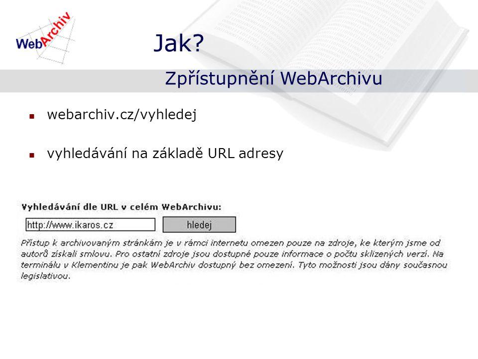 index – data, kdy byla daná URL adresa sklizena Jak? Zpřístupnění WebArchivu