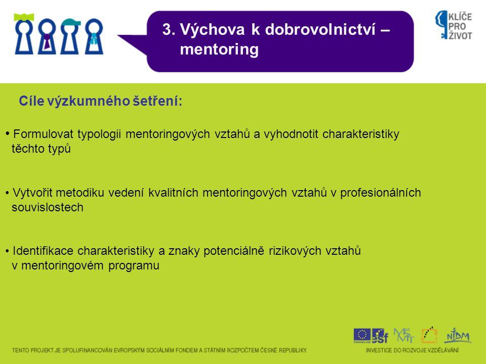 3. Výchova k dobrovolnictví – mentoring Cíle výzkumného šetření: Formulovat typologii mentoringových vztahů a vyhodnotit charakteristiky těchto typů V