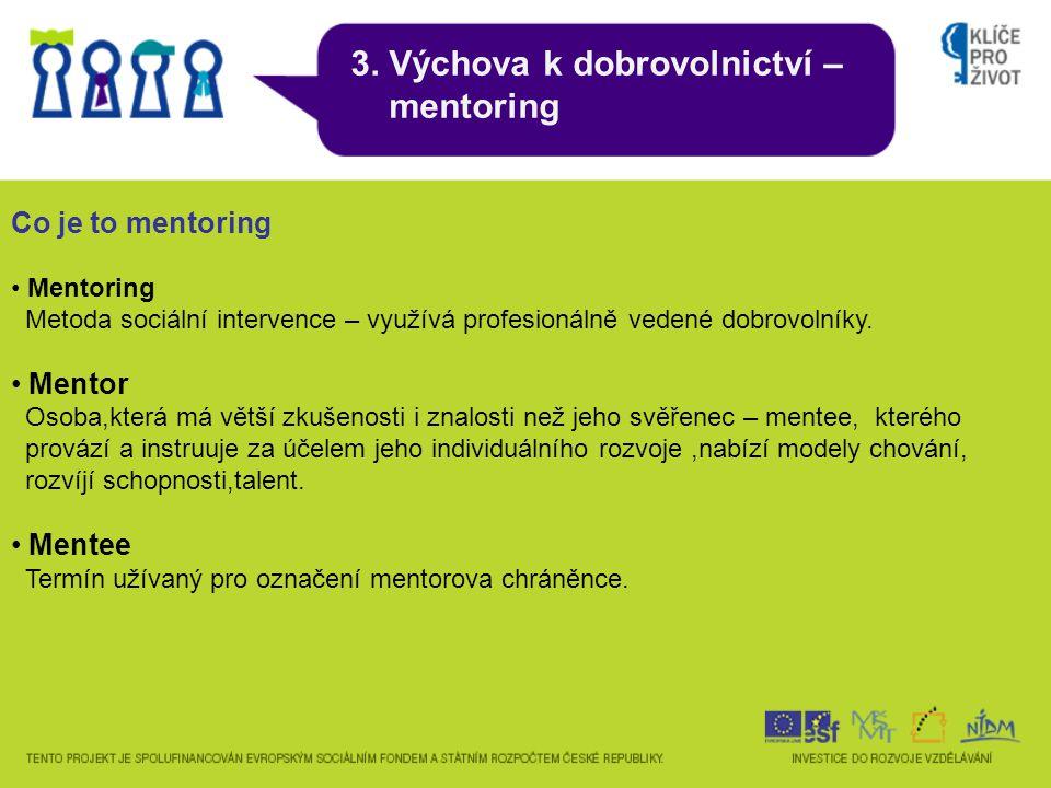 3. Výchova k dobrovolnictví – mentoring Co je to mentoring Mentoring Metoda sociální intervence – využívá profesionálně vedené dobrovolníky. Mentor Os