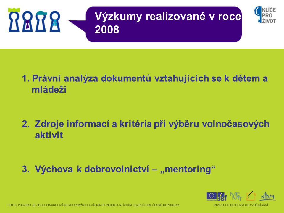 Výzkumy realizované v roce 2008 1. Právní analýza dokumentů vztahujících se k dětem a mládeži 2.