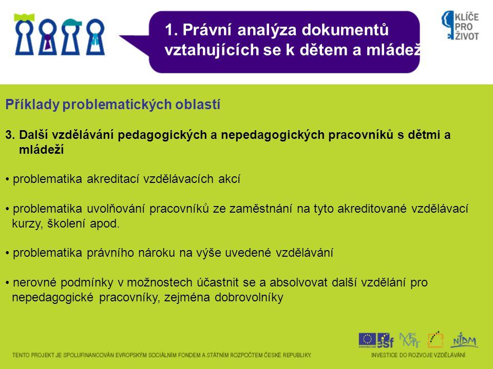 1. Právní analýza dokumentů vztahujících se k dětem a mládeži Příklady problematických oblastí 3.