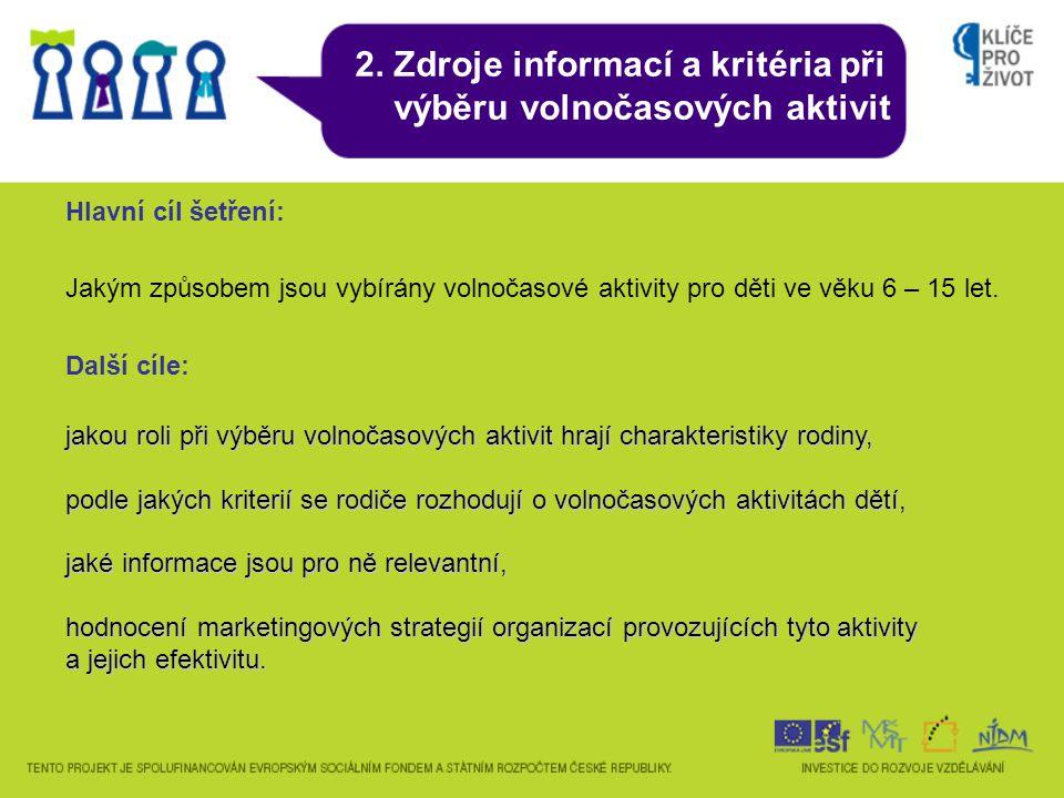 2. Zdroje informací a kritéria při výběru volnočasových aktivit Hlavní cíl šetření: Jakým způsobem jsou vybírány volnočasové aktivity pro děti ve věku
