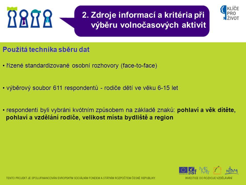 2. Zdroje informací a kritéria při výběru volnočasových aktivit Použitá technika sběru dat řízené standardizované osobní rozhovory (face-to-face) říze