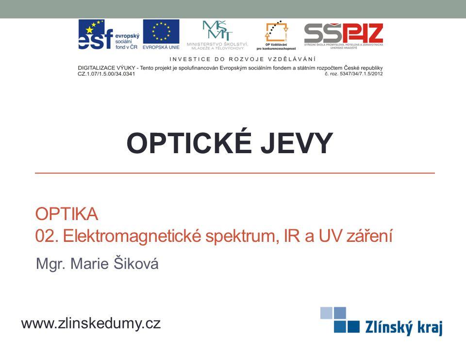 OPTIKA 02. Elektromagnetické spektrum, IR a UV záření Mgr. Marie Šiková OPTICKÉ JEVY www.zlinskedumy.cz