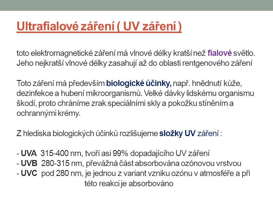 Ultrafialové záření ( UV záření ) toto elektromagnetické záření má vlnové délky kratší než fialové světlo. Jeho nejkratší vlnové délky zasahují až do