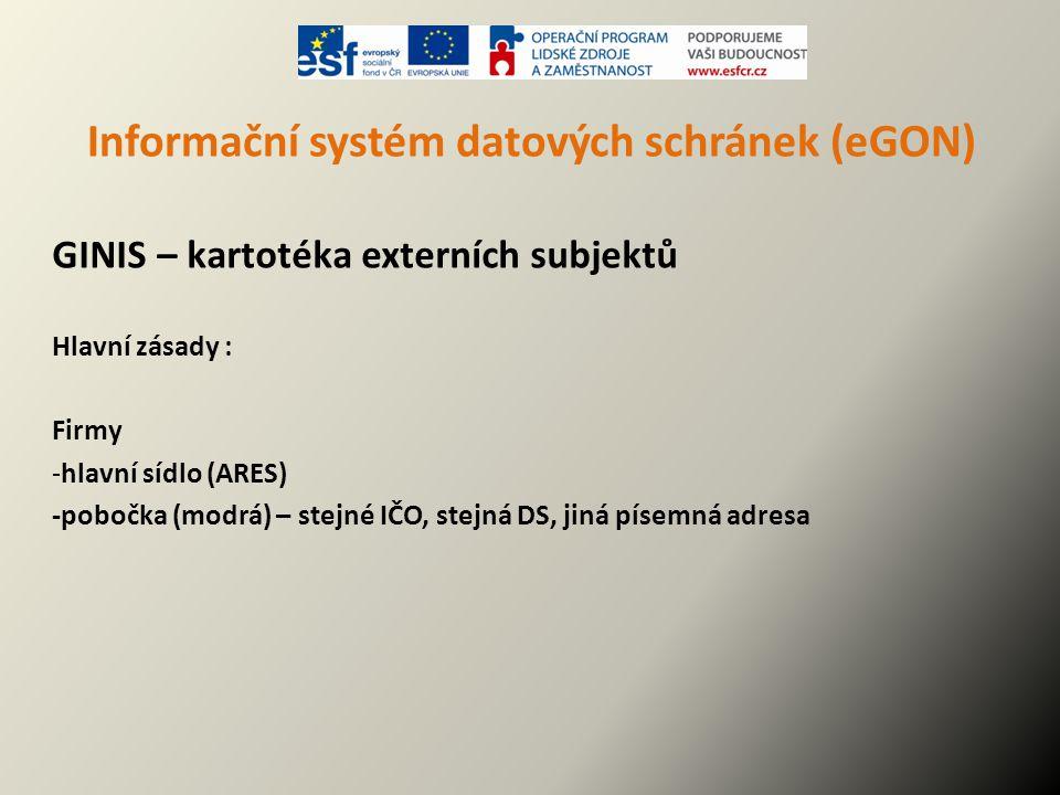Informační systém datových schránek (eGON) GINIS – kartotéka externích subjektů Hlavní zásady : Firmy -hlavní sídlo (ARES) -pobočka (modrá) – stejné I