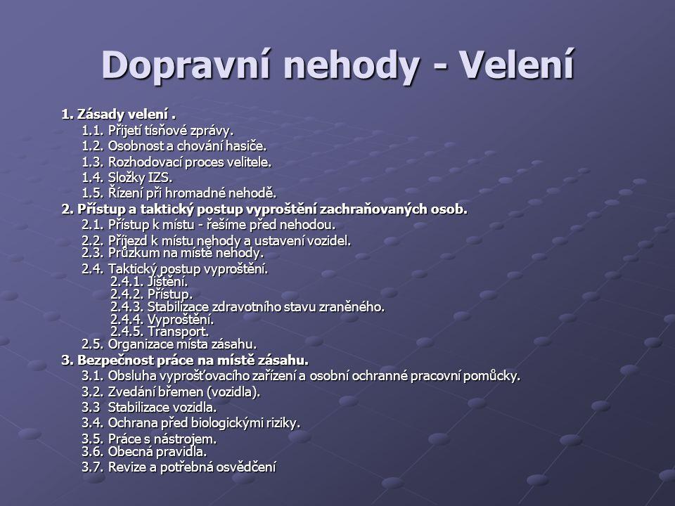 Dopravní nehody - Velení 1.Zásady velení. 1.1. Přijetí tísňové zprávy.