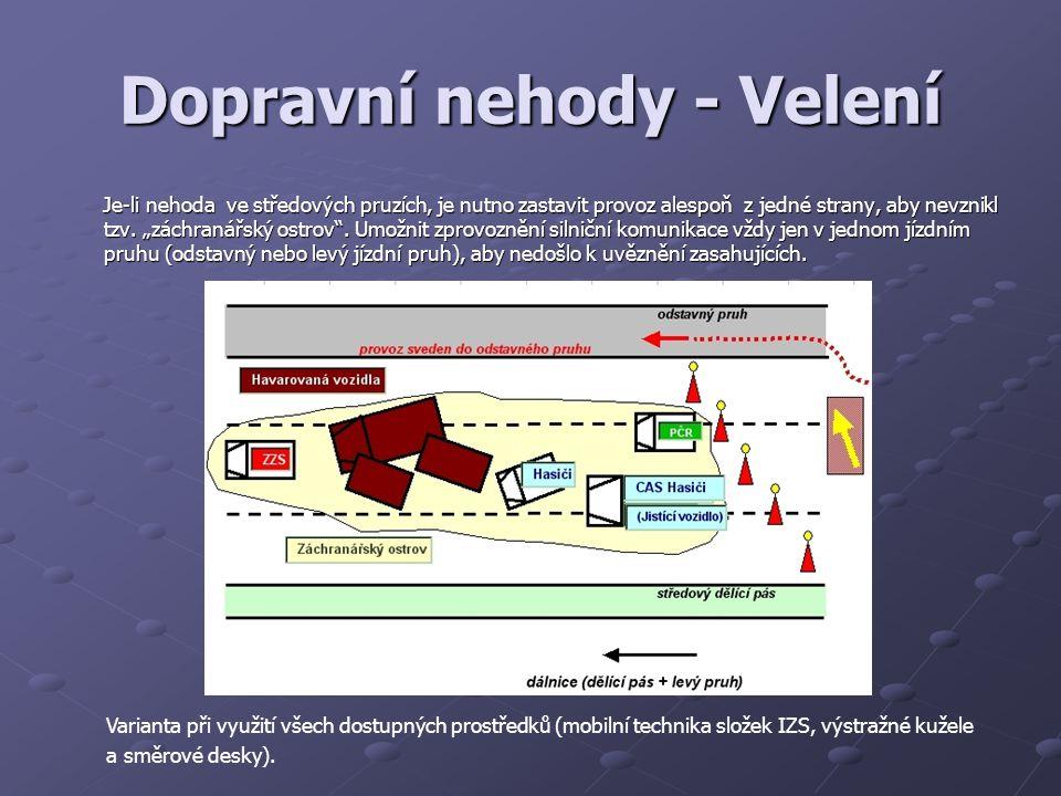 Dopravní nehody - Velení Je-li nehoda ve středových pruzích, je nutno zastavit provoz alespoň z jedné strany, aby nevznikl tzv.